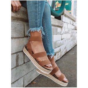 Tan Camel Espadrille Platform Two Strap Sandals